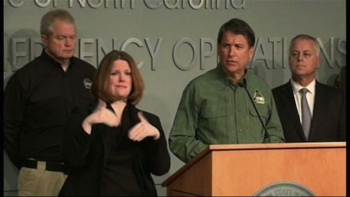 North Carolina Governor Pat McCrory urges people to stay off the roads until the storm has cleared