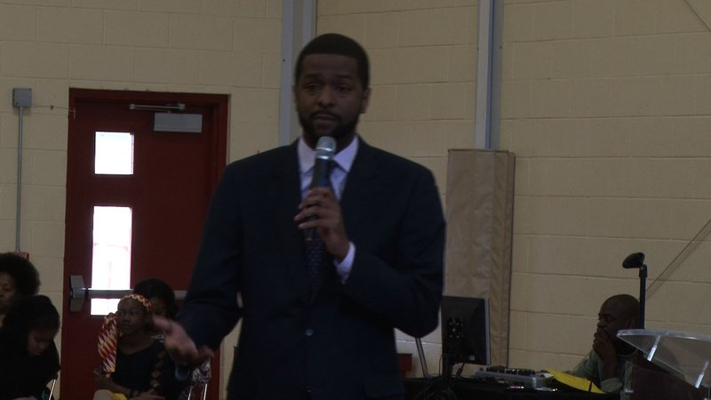 State Rep. Bakari Sellers tells the crowd about his father, a young civil rights activist during the Orangeburg Massacre