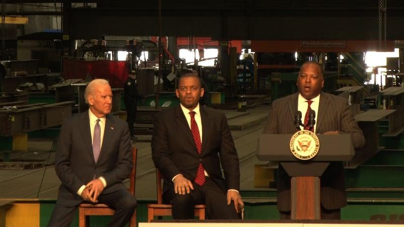 Mayor Steven Benjamin introduces VP Biden at Owen Steel Co.