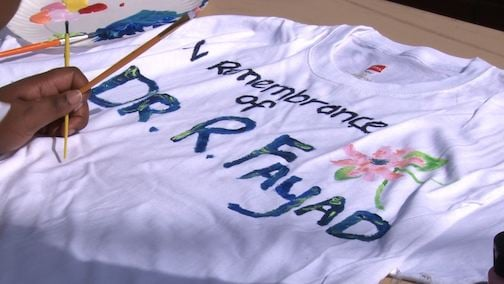 Student paints t-shirt in honor of the late Dr. Raja Fayad