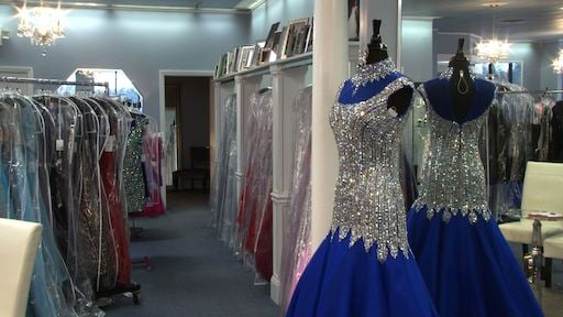 Dazzles offers a variety of prom gowns starting around $300.