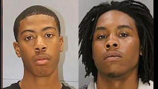 Suspect Jahmir Taylor (left), 19, has been arrested and charged with first-degree murder. Suspect Jeremiah Pough (right), 19, is wanted by the police.