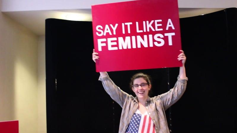 FemCo member Caitlin Wyatt shows her support for women equality.