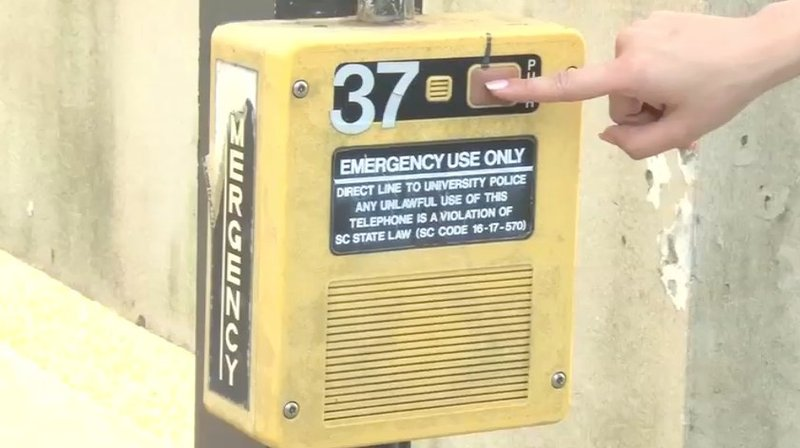 Police urge students to use call boxes like this if they ever feel like they're in danger.