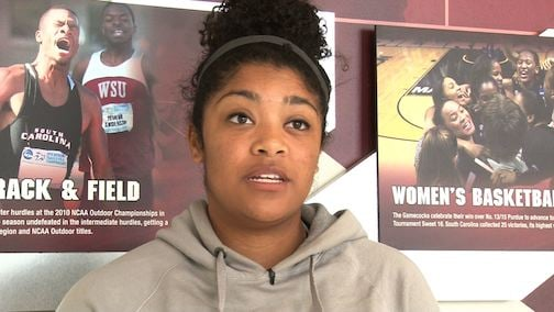 Softball player Taylor Williams say she and her teammates try to support as much as possible.