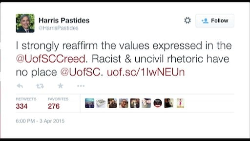 Tweet from USC President Harris Pastides denouncing racial slur used by student