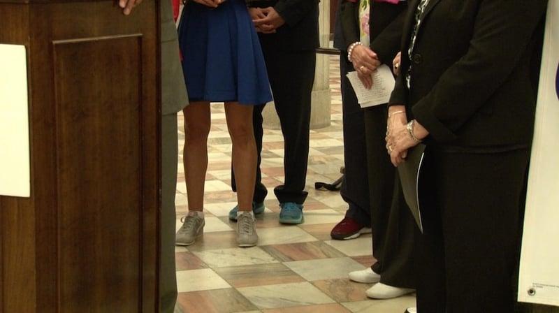 Legislators paired their fancy dresswear with sneakers.