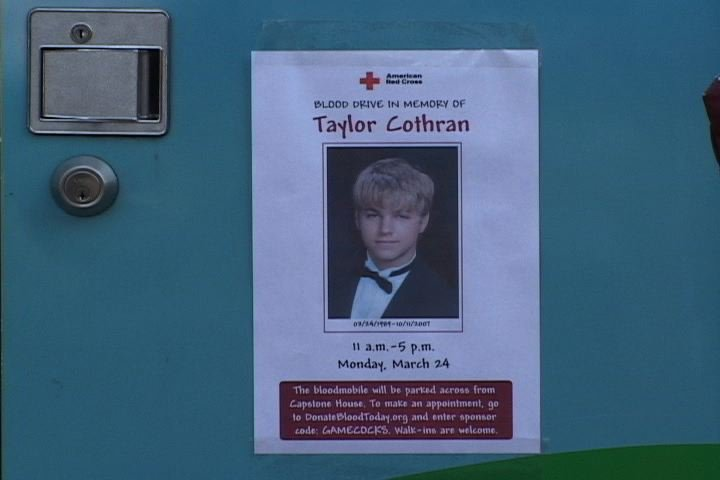 Picture of Taylor Cothran posted on the donation bus