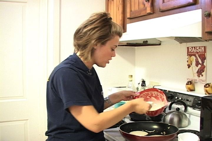 Amanda Kay Seals makes pancakes to help raise money for her Relay for Life team.