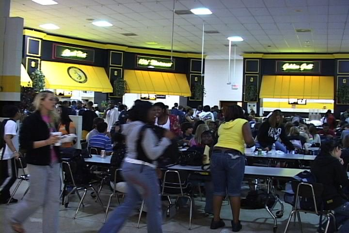 Students at Irmo High School eating lunch in the cafeteria.
