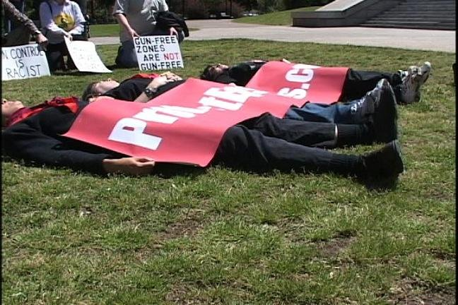 Protestors Laying Down for Three Minutes...The Time They Say it Takes to Buy a Gun