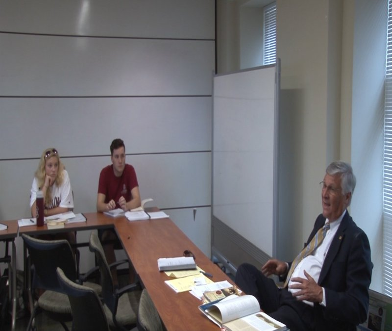 Attorney Joel Collins discusses issues like same-sex marriage licensing in his constitutional law class at the University of South Carolina.