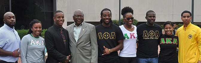 S.C. Rep. James Clyburn, fourth from left, takes time for a picture with student leaders, before encouraging USC students to register to vote.