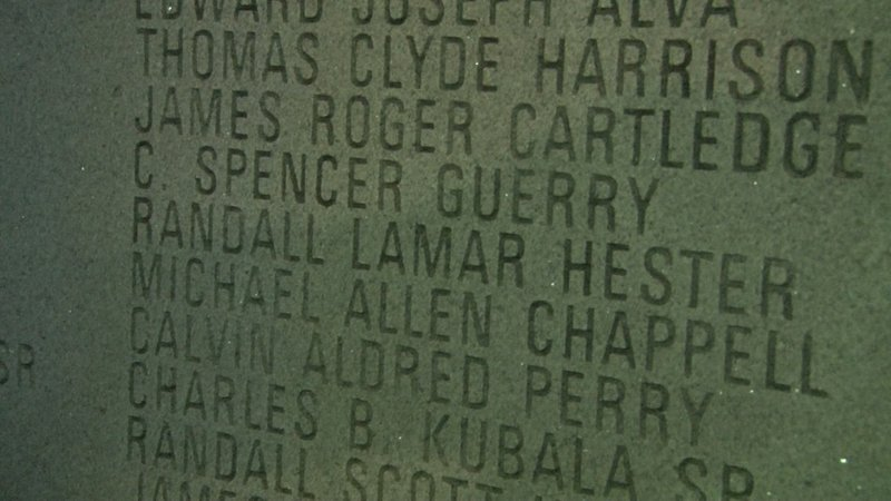 Fallen officers names are engraved into the memorial that sits on the State House grounds.