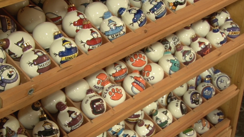 Artistans sell hand-made crafts and goods, like tree ornaments.