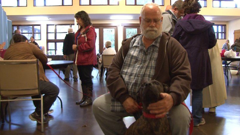 Sid and his temporary owner, Patrick Saucier, attended the blessing in search for Sid's forever home.
