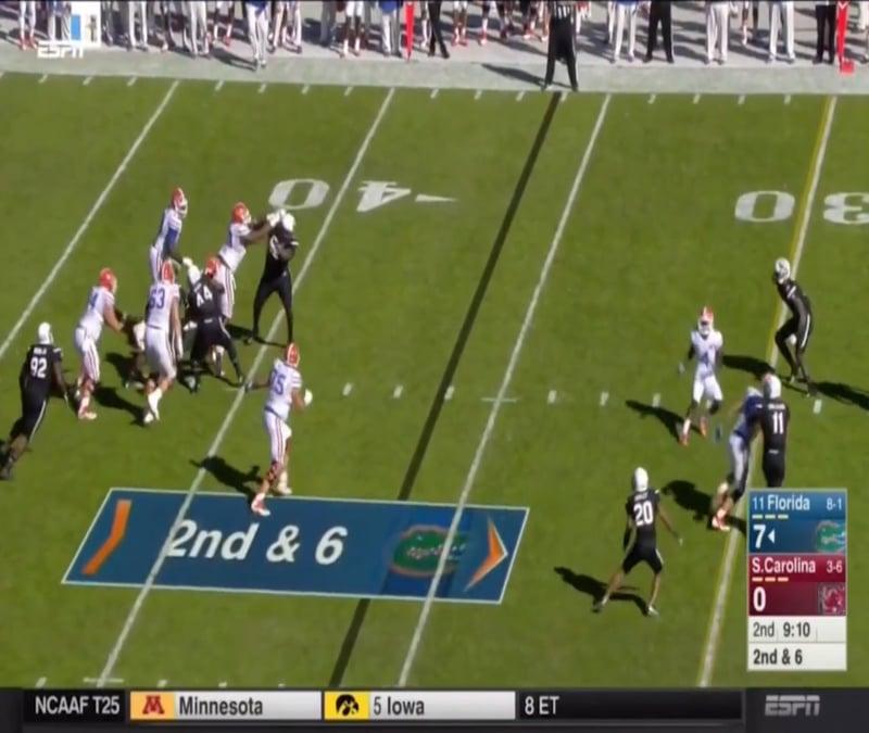 Dixon sacks Gators quarterback, Treon Harris, the beginning of the second quarter against the Florida Gators.