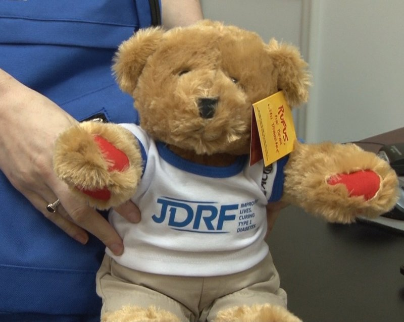 The bear Rufus is included in JDRF's Bag of Hope that is given to newly diagnosed children.