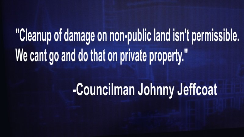 Councilman Johnny Jeffcoat says the county isnt able to help homeowners.