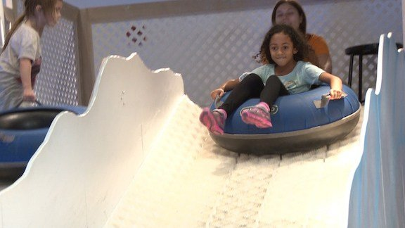 Michaela says her favorite part was sledding down the slide and learning about the bobsledders in the South Pole.