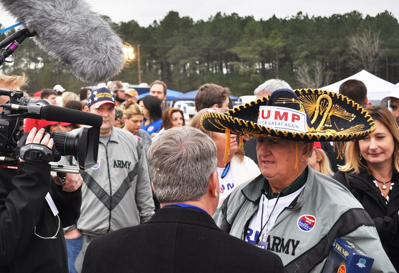 "By Colin Demarest: Jim Yates, in the sombrero, is a self-proclaimed Trump super-fan. A Vietnam veteran, Yates believes Trump ""cares more than most candidates about vets,"" and appeals to South Carolina voters ""because he's just real."""
