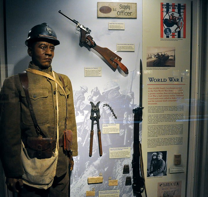 A WWI soldier of the 371st Infantry. The Confederate Relic Room includes military history from the Civil War to the present day.