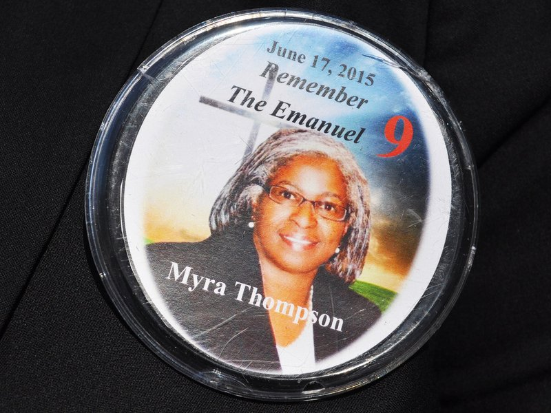 By Colin Demarest: Denise Quarles wore this pin proudly throughout the service. Although she said she does not wear it everywhere, Quarles wears it to any event her mom is remembered in.