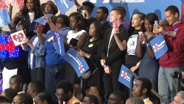 President Clinton spoke to a gymnasium filled with students excited about Hillary's future.
