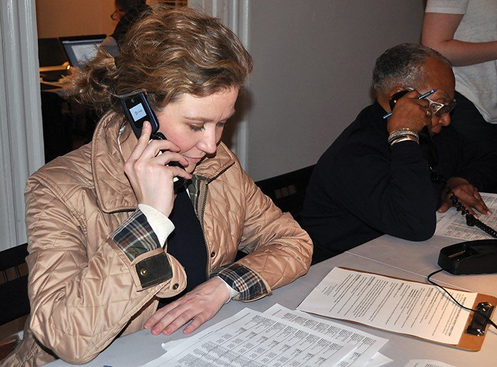 """Elizabeth Wilson, who spends two nights a week making calls for the Clinton campaign, has noticed """"much more positive energy"""" in the office leading up to the S.C. primaries."""