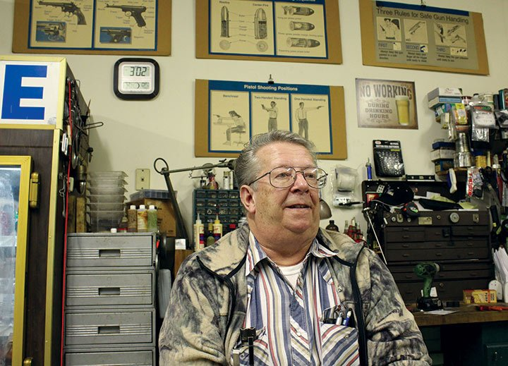 """Gerald Stoudemire fixes firearms in his garage and has been teaching concealed weapons permit classes since 1996. He said """"every time (President Obama) opens his mouth"""" gun sales and CWP classes increase."""