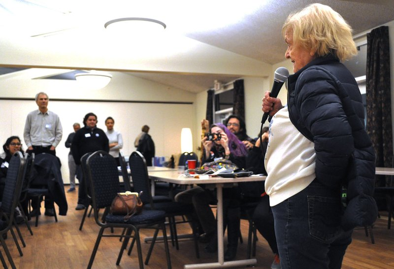 """Eunice """"Tootsie"""" Holland addressed the crowd Wednesday night and spoke about how Sanders would fight for womens' rights – something she says other candidates haven't done well."""