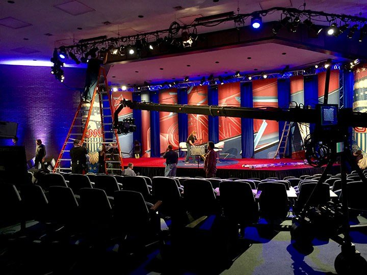 Workers assemble the stage for the CNN Town Hall at the University of South Carolina Law School.