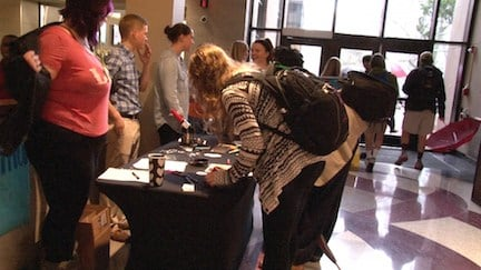 Carolina BeYOUtiful set up tables in Russell House Monday to spread awareness for postitive body image.