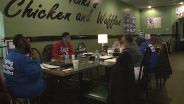Volunteers spend hours phone banking at the Columbia Clinton headquarters.
