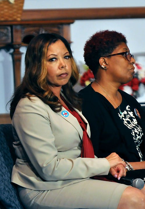 """Lucia McBath sat on stage at Central Baptist Church in support of Hillary Clinton. A part of """"Mothers of the Movement,"""" her son, Jordan Davis, was shot and killed in Jacksonville, Fla., eight months after Trayvon Martin was killed by George  Zimmerman."""