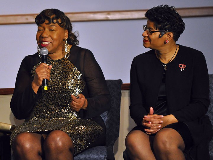 Gwen Carr, left, and Geneva Reed-Veal spoke on behalf of their children Eric Garner and Sandra Bland. Carr and Bland stressed to audience members to vote for Clinton in the upcoming South Carolina Democratic primary.