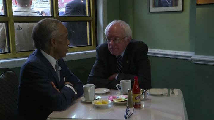 Sen. Sanders meets with Al Sharpton, seeking an endorsement of his campaign.