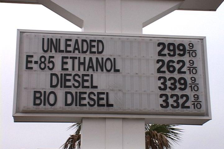 Ethanol and bio diesel are cheaper than regular gas.