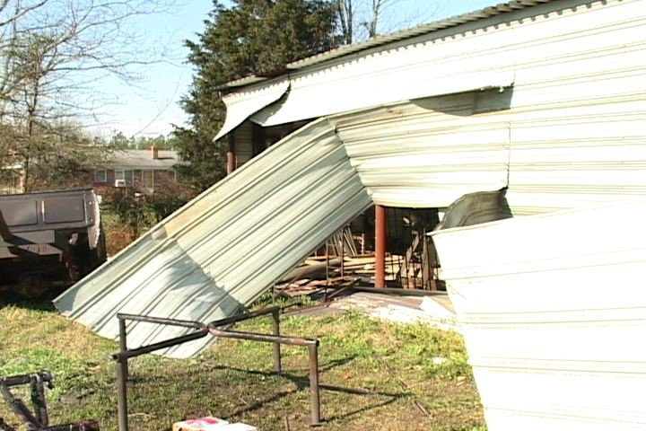 Houses and sheds, like this one in Kershaw County, were destroyed by the winds. Winds reached up to 140 mph.