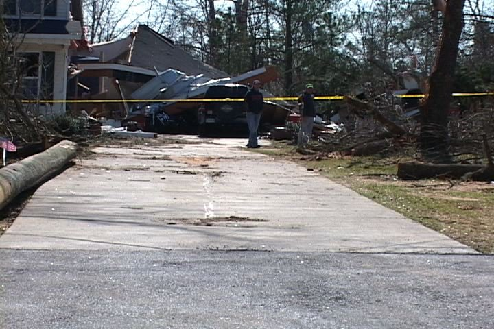 Residents in Newberry County survey the damage done to their homes.
