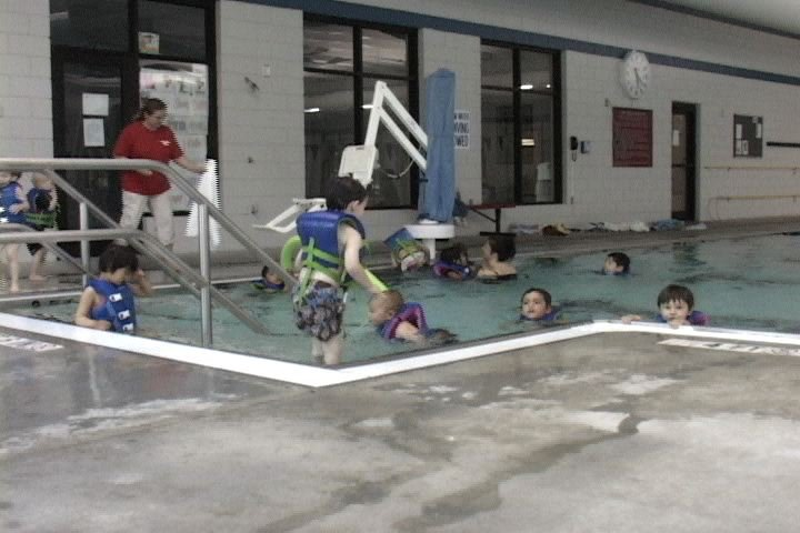 Pre-schoolers enjoy a morning swim class at the Jeep Rogers Family YMCA.